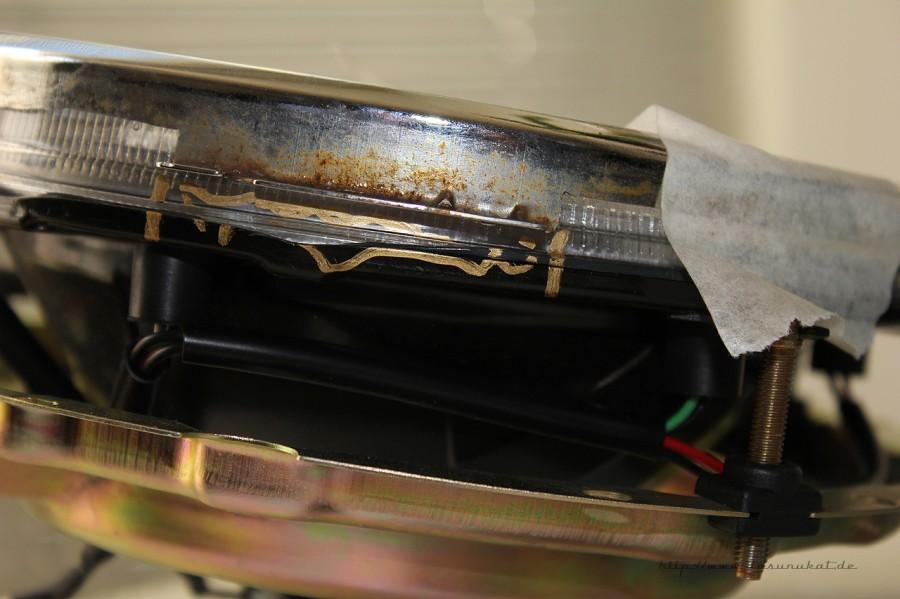 Rover Mini Xn - Chromgringtest für Klarglasscheinwerfer.