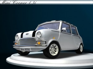 3D Modell eines Rover Mini Xn Frontansicht