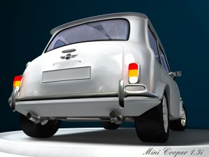 3D Modell eines Rover Mini Xn von hinten
